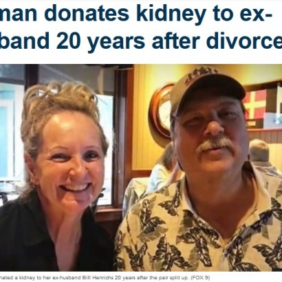 【海外発!Breaking News】20年前に離婚した元夫に腎臓提供した女性(米)