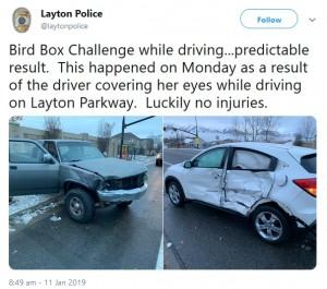 【海外発!Breaking News】「バード・ボックス」チャレンジで17歳少女が衝突事故 Netflixは注意喚起も(米)