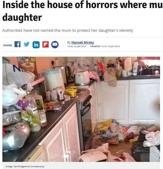 母子が住んでいた家の中は荒れた状態に(画像は『Cambridgeshire Live 2019年1月18日付「Inside the house of horrors where mum neglected daughter」(Image: Cambridgeshire Constabulary)』のスクリーンショット)