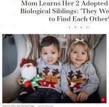 【海外発!Breaking News】1人の女性に別々に迎え入れられた2人の養子、血の繋がった兄妹と判明(米)