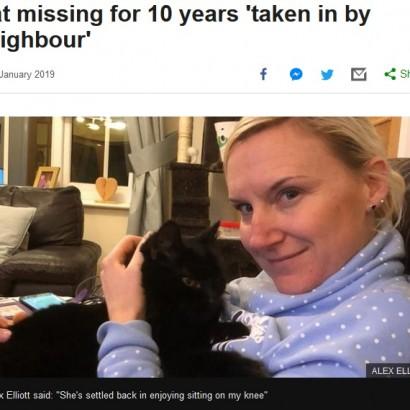 【海外発!Breaking News】10年ぶりに飼い主と再会した猫 飼っていたのは近所の住民(英)