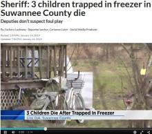 【海外発!Breaking News】幼い子供3人が冷凍庫に閉じ込められ死亡(米)