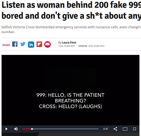 22歳女が200回以上も迷惑コール(画像は『Daily Record 2019年1月23日付「Listen as woman behind 200 fake 999 calls says 'I'm bored and don't give a sh*t about anyone else'」』のスクリーンショット)