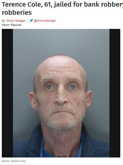 ヘアブラシを凶器に銀行に押し入った男(画像は『St Helens Star 2019年1月22日付「Terence Cole, 61, jailed for bank robbery and attempted robberies」(Merseyside Police)』のスクリーンショット)