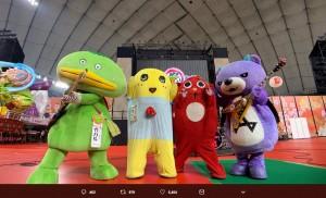キャラクター・メタルバンド「CHARAMEL」(画像は『ふなっしー 2019年1月16日付Twitter「charamel東京ドームふるさと祭りライブ無事に終わりましたなっしー♪」』のスクリーンショット)