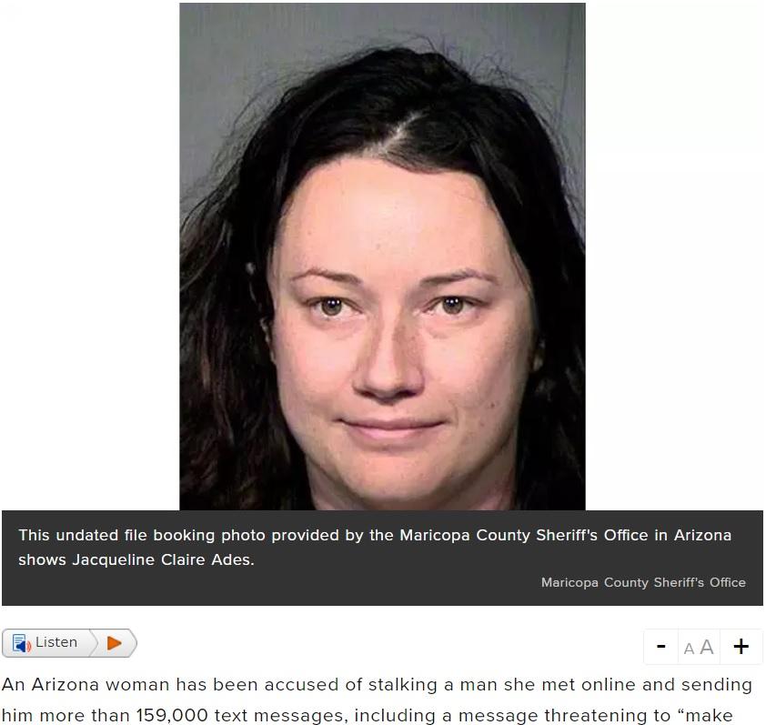 恐怖のメールを送り付けたストーカー女(画像は『Global News 2019年1月8日付「Woman accused of stalking man, sending more than 159K text messages after single date」(Maricopa County Sheriff's Office)』のスクリーンショット)