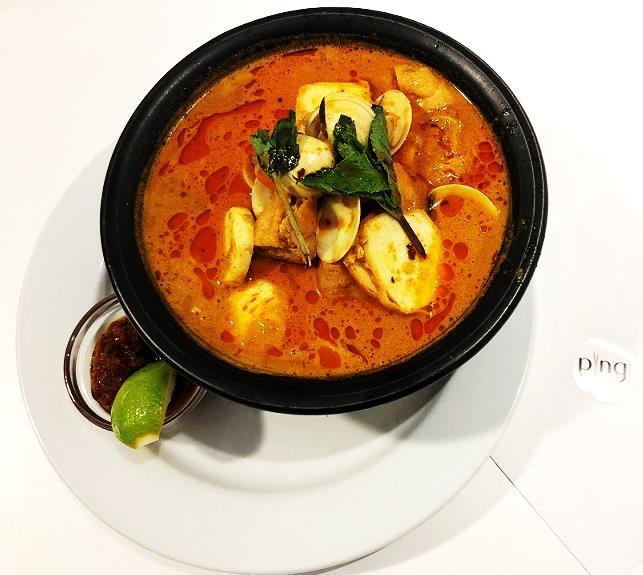 『シーフードカレーラクサ Seafood curry laksa』(13.95ポンド=約1953円)