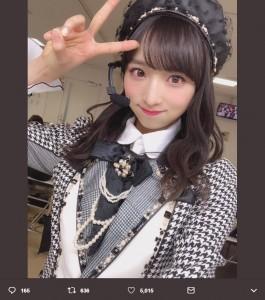 AKB48チーム8(チームA兼任)の小栗有以(画像は『小栗有以 2019年1月18日付Twitter「#リクアワ2019 終えました~」』のスクリーンショット)