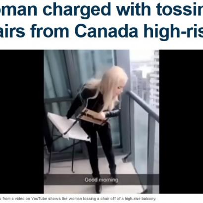 【海外発!Breaking News】マンション45階バルコニーから椅子を投げ落とした19歳女(カナダ)<動画あり>