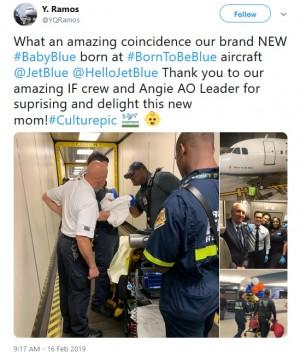 【海外発!Breaking News】ジェットブルー航空機内で出産 男児誕生にクルーら祝福(米)