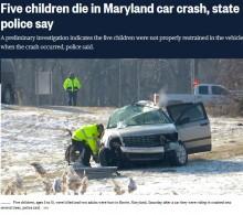 【海外発!Breaking News】7人乗った車が大破 シートベルトをしていなかった子供5人の命が失われる(米)