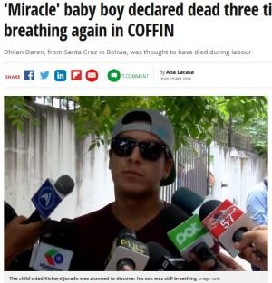 【海外発!Breaking News】死産と断定された赤ちゃん、棺桶の中で息を吹き返す(ボリビア)