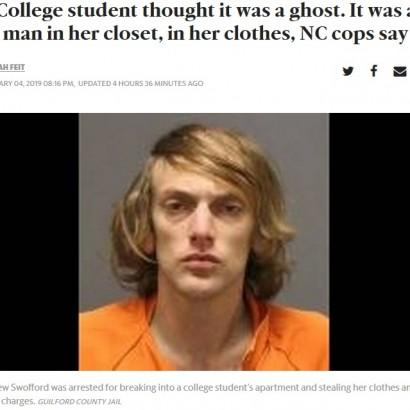 【海外発!Breaking News】「幽霊がいる」と思っていた女性、クローゼットの中にいた女装の男に仰天(米)