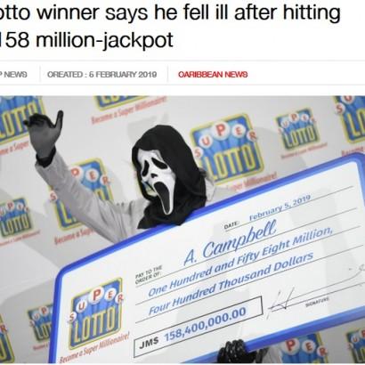 【海外発!Breaking News】1億3千万円の宝くじに当選した男性、賞金受け取りは『スクリーム』のマスクで(ジャマイカ)<動画あり>