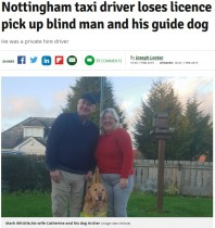 【海外発!Breaking News】盲導犬を連れた視覚障害の夫婦、タクシー運転手に「犬は乗せない」と乗車拒否に(英)