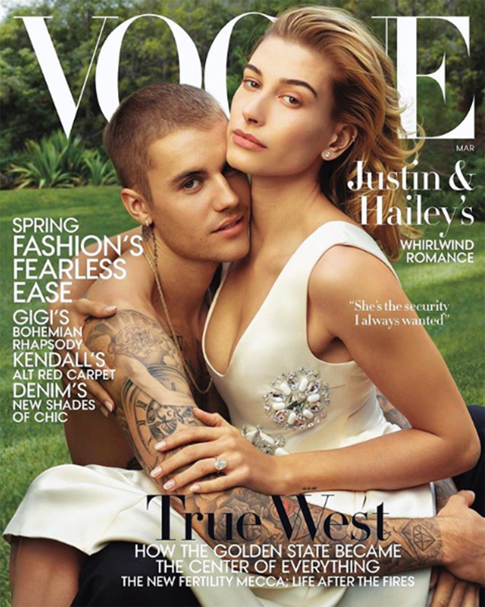 『VOGUE』表紙を飾ったジャスティン&ヘイリー夫妻(画像は『Hailey Rhode Bieber 2019年2月7日付Instagram「so excited to cover @voguemagazine's March issue with my loveeeeeee shot by #AnnieLeibovitz Read our full cover story in the link in my bio」』のスクリーンショット)