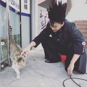 猫に触れる伊藤健太郎(画像は『【公式】今日から俺は!! 激写!! 2019年2月22日付Instagram「#猫の日 ですってよ。」』のスクリーンショット)