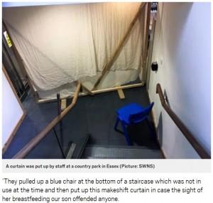 スタッフは、授乳のために階段の下に椅子を置きその場しのぎのカーテンを引く(画像は『Metro 2019年2月13日付「Mum ordered to breastfeed behind curtain to avoid causing offence」(Picture: SWNS)』のスクリーンショット)