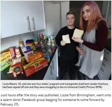 【海外発!Breaking News】妊娠と不安障害で生活苦を訴えた18歳カップル 食料を寄付されるも「妊娠は嘘」か(英)