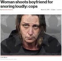 【海外発!Breaking News】「イビキがうるさかった」恋人を散弾銃で殺そうとした女(米)