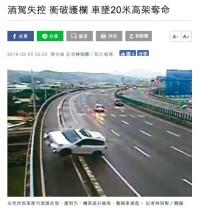 【海外発!Breaking News】高架道路を走行中のドライバーが転落死 飲酒運転での死亡者数が毎年2700人を超える台湾