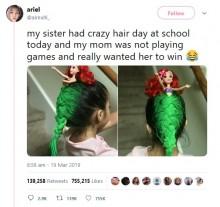 【海外発!Breaking News】ママが本気を出した「クレイジーヘア・デー」 4歳娘の髪をリトル・マーメイドに(米)