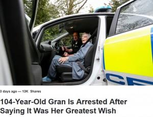 【海外発!Breaking News】104歳女性、人生初の逮捕に「長年の夢が叶った」と大喜び(英)