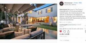 """ジャスティンが購入した9億円超の豪邸(画像は『Hilton & Hyland 2018年11月13日付Instagram「Welcome to """"The Tropics."""" Originally built in 1932 and set behind beautiful gates, this transitional gem is the ultimate in refinement, Old Hollywood glamour mixed with casual California Living.」』のスクリーンショット)"""