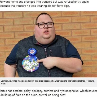 【海外発!Breaking News】障害者男性、ナイトクラブで「ズボンにファスナーがついてない」と入店拒否に(英)