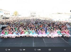『LAGUNA MUSIC FES.2019 Vol.3 SKE48プレミアムライブ』にて(画像は『斉藤真木子(SKE48) 2019年3月24日付Twitter「#ラグーナミュージックフェス2019 青い空に、白い雲。真っ昼間からの野外ライブ、最高な時間をありがとうございました!」』のスクリーンショット)