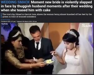 【海外発!Breaking News】ウエディングケーキを前に茶目っ気を見せた花嫁、花婿から平手打ち<動画あり>