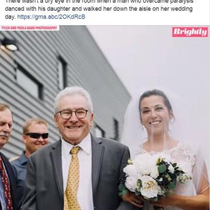 【海外発!Breaking News】「娘の結婚披露宴でダンスがしたい」身体が麻痺した父、必死のリハビリで願い叶える(米)<動画あり>