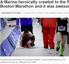 【海外発!Breaking News】ボストンマラソンを這って完走 「亡き友3人のために」走った元海兵隊員(米)<動画あり>