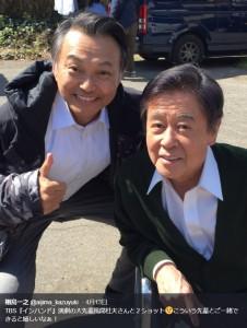 相島一之と風間杜夫(画像は『相島一之 2019年4月13日付Twitter「TBS『インハンド』演劇の大先輩風間杜夫さんと2ショット」』のスクリーンショット)