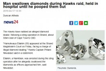 【海外発!Breaking News】ダイヤモンドを飲み込んだ容疑者 無事排出も警察「非常につらい作業だった」(南ア)