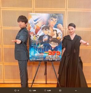 山崎育三郎と河北麻友子(画像は『山崎育三郎 2019年4月2日付Twitter「「名探偵コナン 紺青の拳(フィスト)」完成披露試写会がありました!!」』のスクリーンショット)