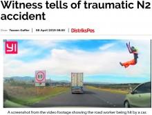 【海外発!Breaking News】無謀な追い越しで道路作業員がはねられ宙に舞う 衝撃映像に目撃者が怒り(南ア)<動画あり>