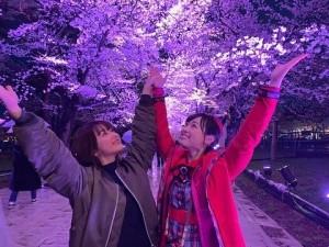 桜の下で福原遥と平祐奈