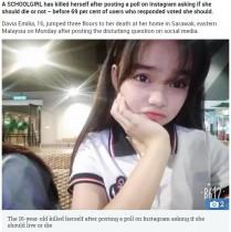 【海外発!Breaking News】生か死か尋ねた少女、69%が「死ぬべき」の回答に自ら命を絶つ(マレーシア)