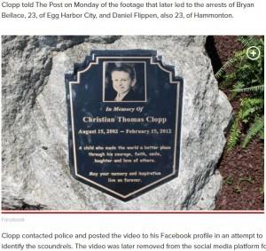【海外発!Breaking News】がんで亡くなった9歳少年の追悼記念碑に放尿、男2人が逮捕(米)<動画あり>