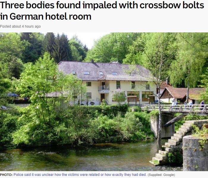 事件があったドイツのホテル(画像は『ABC News 2019年5月13日付「Three bodies found impaled with crossbow bolts in German hotel room」(Supplied: Google)』のスクリーンショット)