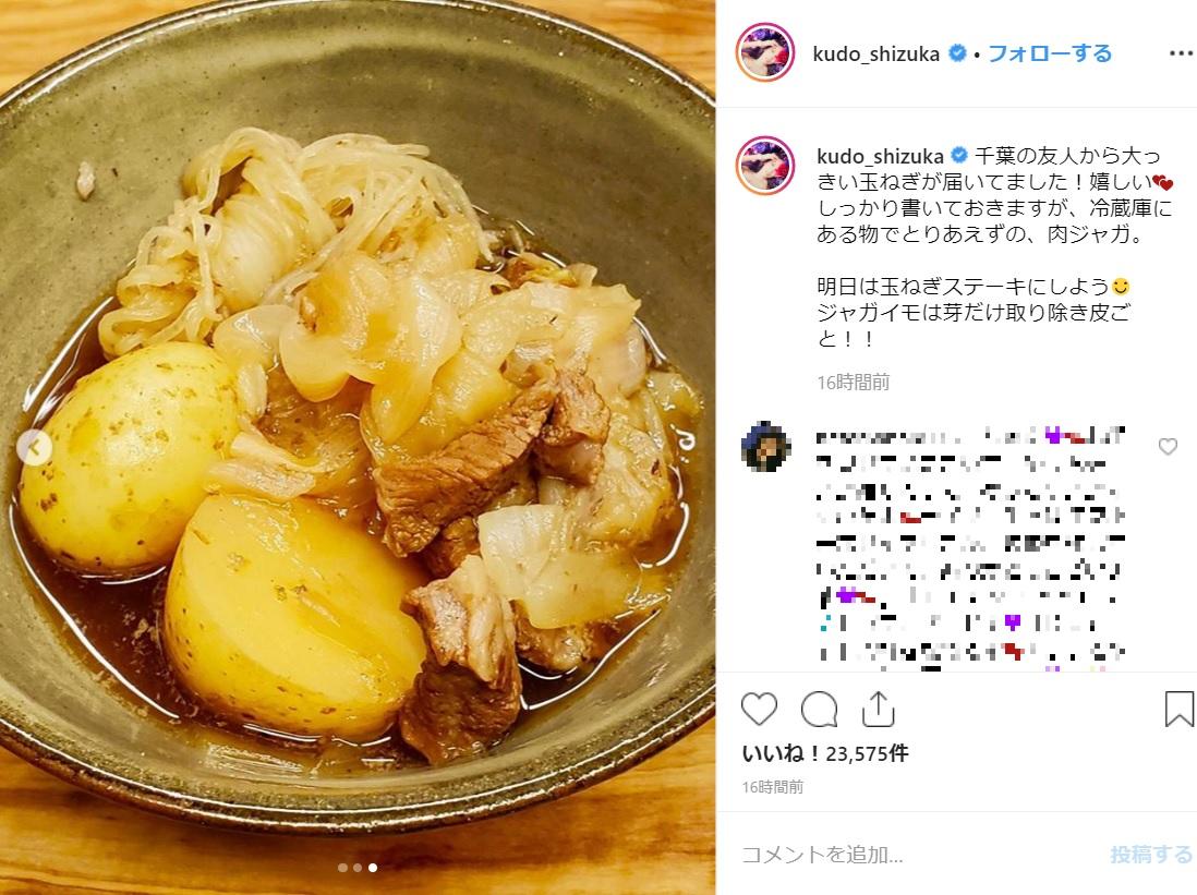 工藤静香お手製の肉じゃが(画像は『Kudo_shizuka 2019年5月30日付Instagram「千葉の友人から大っきい玉ねぎが届いてました!」』のスクリーンショット)