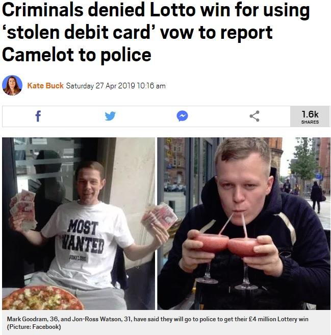 宝くじに当選し浮かれる2人だが…(画像は『Metro 2019年4月27日付「Criminals denied Lotto win for using 'stolen debit card' vow to report Camelot to police」(Picture: Facebook)』のスクリーンショット)