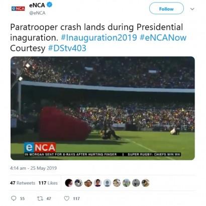 【海外発!Breaking News】南アフリカ大統領就任式で珍事 パラシュート部隊が着地に失敗<動画あり>