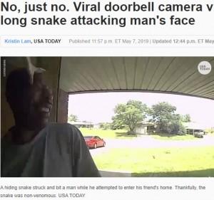 【海外発!Breaking News】友人宅を訪ねた男性 玄関先で突然ヘビに襲われる(米)