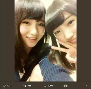 太田夢莉が投稿した高橋朱里との懐かしい1枚(画像は『太田夢莉 2019年5月2日付Twitter「兄貴 AKB48 ご卒業おめでとうございます」』のスクリーンショット)