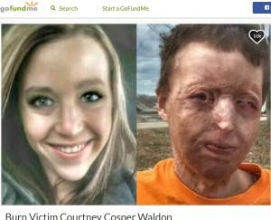 事故前(左)と事故後のコートニーさん(画像は『GoFundMe 2017年1月17日付「Burn Victim Courtney Cosper Waldon」』のスクリーンショット)