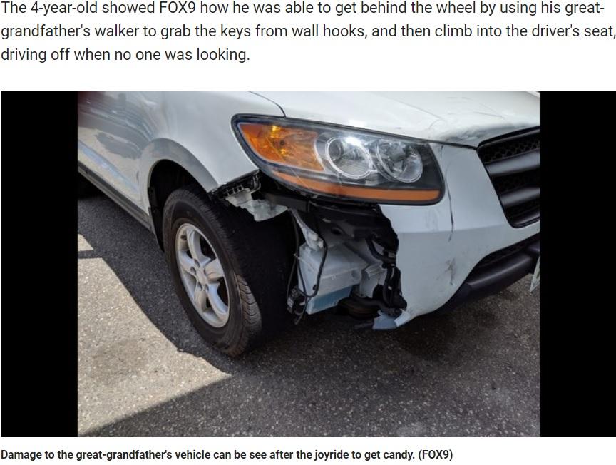 4歳児の運転により損傷したSUV(画像は『FOX 9 2019年6月14日付「Boy, 4, takes great-grandfather's SUV on cruise for candy in Blaine, Minn.」』のスクリーンショット)