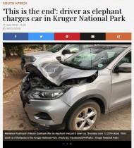 【海外発!Breaking News】ゾウの攻撃も逃げ場なくSUV車がボコボコに(南ア)