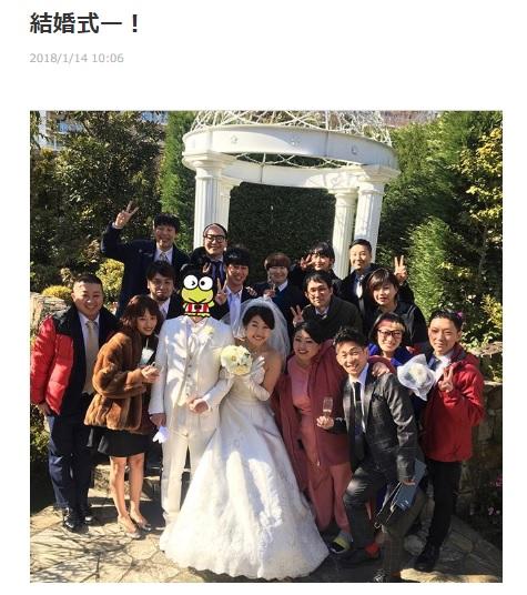 現在より9kg痩せていたという挙式時の横澤夏子(画像は『横澤夏子オフィシャルダイアリー 2018年1月14日付「結婚式ー!」』のスクリーンショット)